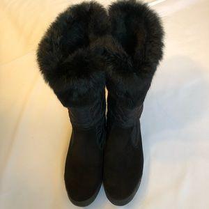 Coach Talen Boots With Rabbit Fur Trim Size 8.5